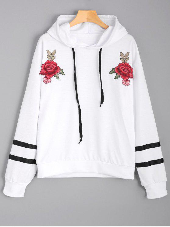 outfit Floral Appliques Striped Hoodie - WHITE L