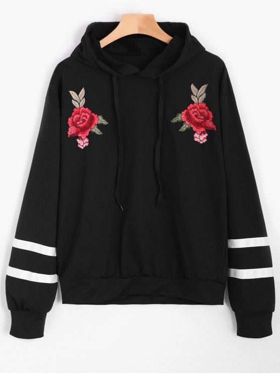 unique Floral Appliques Striped Hoodie - BLACK L