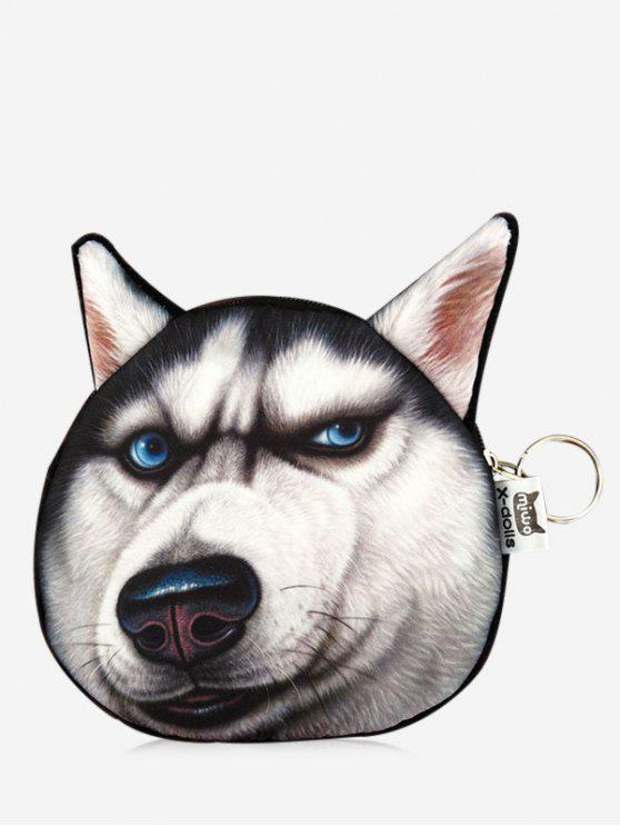 ladies 3D Funny Dog Pattern Coin Purse - BLACK
