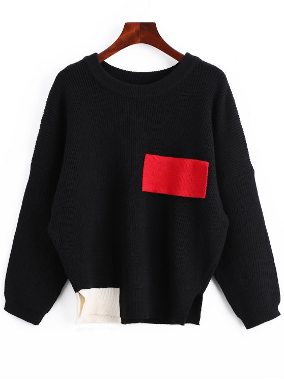 outfits Color Block Oversized Side Slit Sweater - BLACK ONE SIZE
