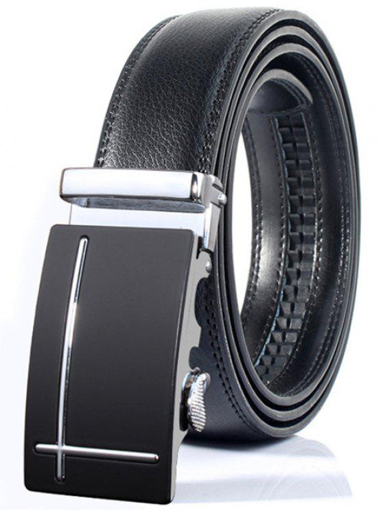 new Polished Perpendicular Line Automatic Buckle Wide Formal Belt - SILVER