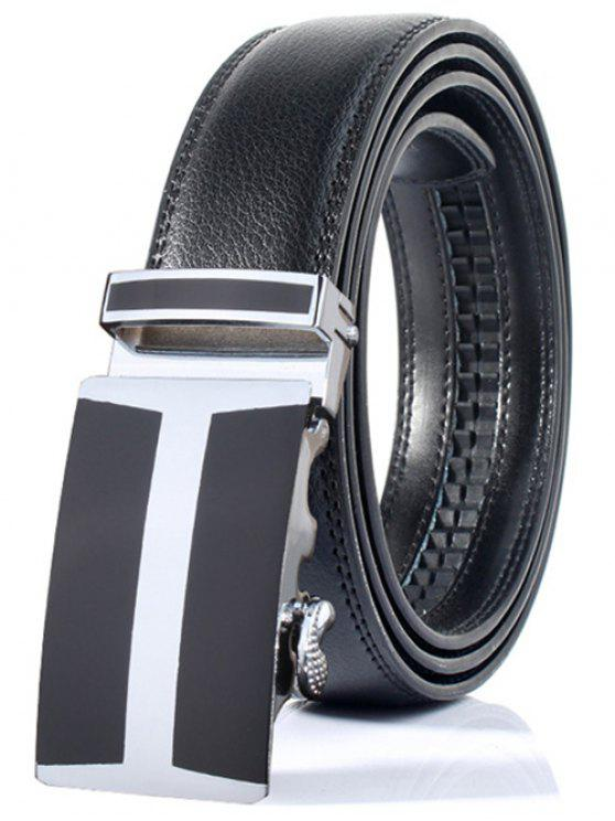 hot Simple H Shape Automatic Buckle Wide Belt - BLACK