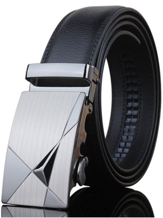 Stylish Triangle Shape Embellished Metal Buckle Black Wide Belt For Men - Preto