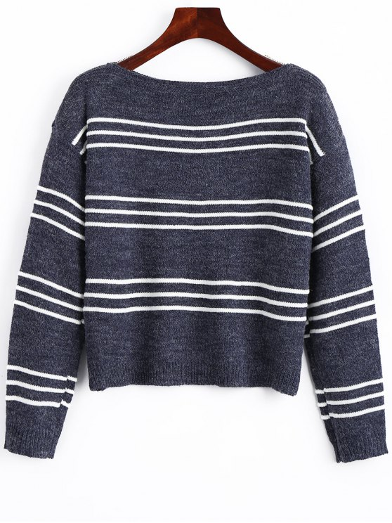 shop Long Sleeve Stripes Pullover Sweater - STRIPE ONE SIZE