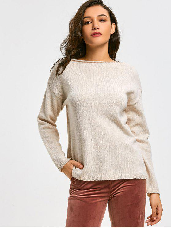 buy Drop Shoulder Slash Neck Pullover Sweater - LIGHT APRICOT ONE SIZE