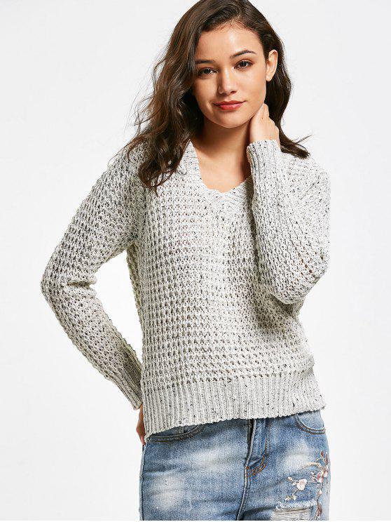 best Sheer V Neck Pullover Sweater - LIGHT GRAY ONE SIZE