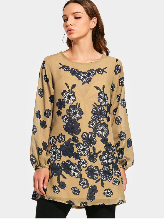 unique Flower Print Long Sleeve Swing Blouse - FLORAL L