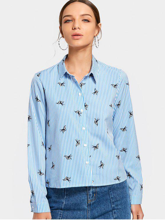 lady Button Up Bird Print Striped Shirt - LIGHT BLUE M