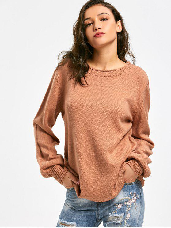 new Long Sleeve Oversized Pullover Sweater - ORANGE BROWN ONE SIZE