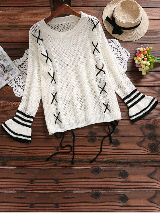 hot Lace Up Hollow Out Flare Sleeve Sweater - OFF-WHITE ONE SIZE