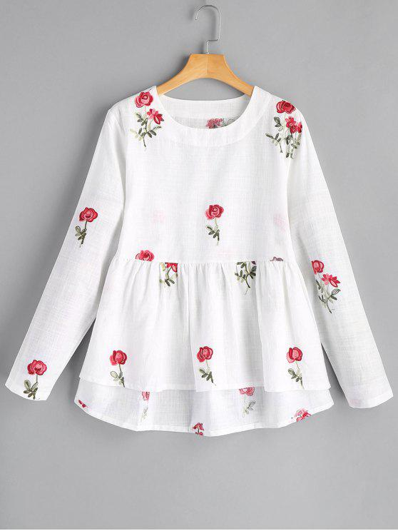 fashion Round Collar Flower High Low Blouse - WHITE M