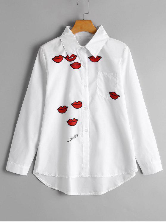 hot Lip Print High Low Pocket Shirt - WHITE XL