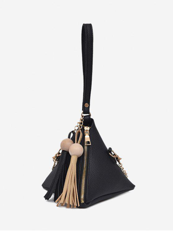 women Geometric Stereo Triangle Tassel Tote Bag - BLACK
