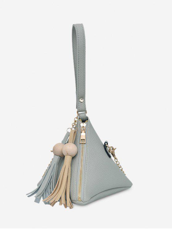 lady Geometric Stereo Triangle Tassel Tote Bag - GRAY