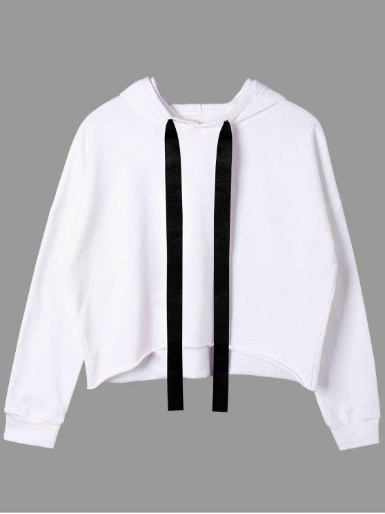 shops Two Tone Drawstring Neck Cropped Hoodie - WHITE ONE SIZE