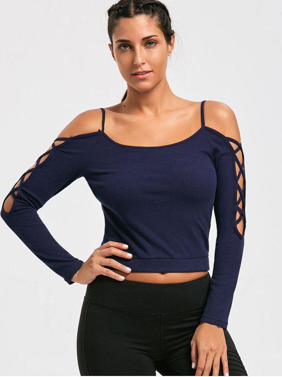 trendy Cold Shoulder Strappy Sleeve Padded Top - PURPLISH BLUE L