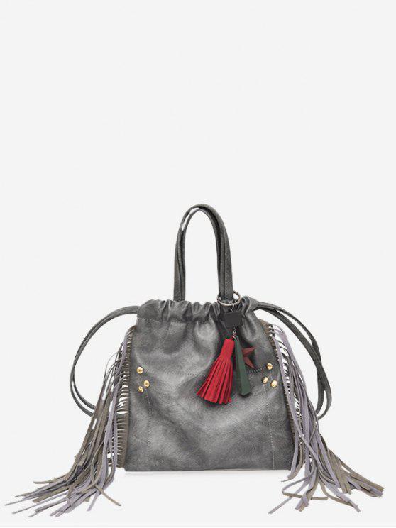 String Fringe Rivet Handbag - Gris
