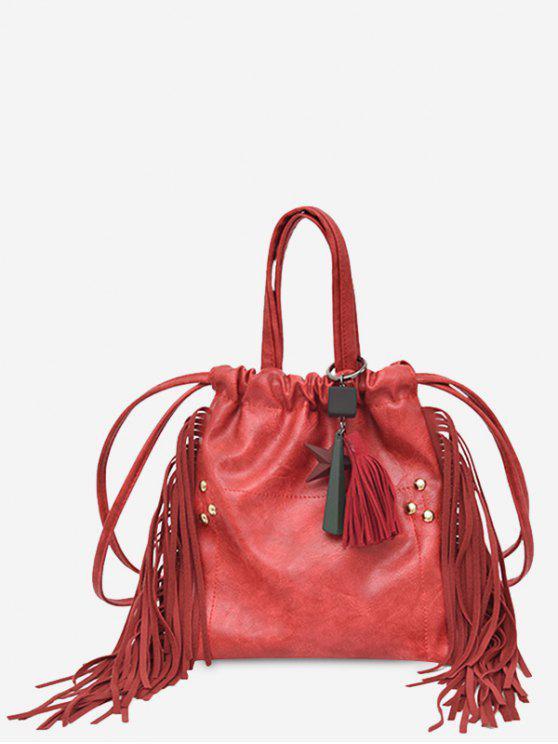 affordable String Fringe Rivet Handbag - RED
