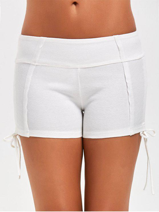 women's Side Drawstring Sports Shorts - WHITE M