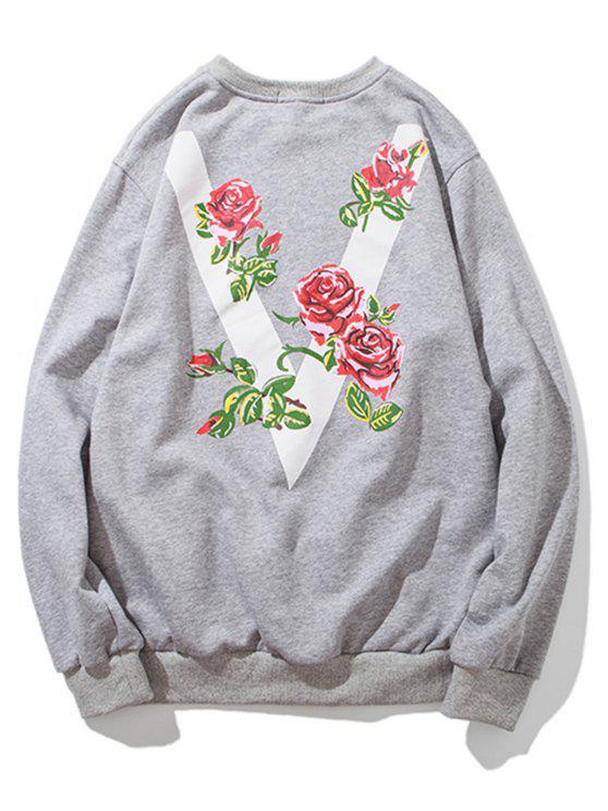 Floral V Print Crew Neck Sweatshirt - Hellgrau M