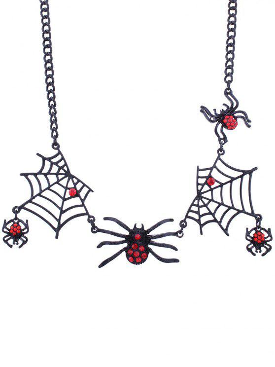 Halloween Spinnennetz Charm Halskette - Schwarz