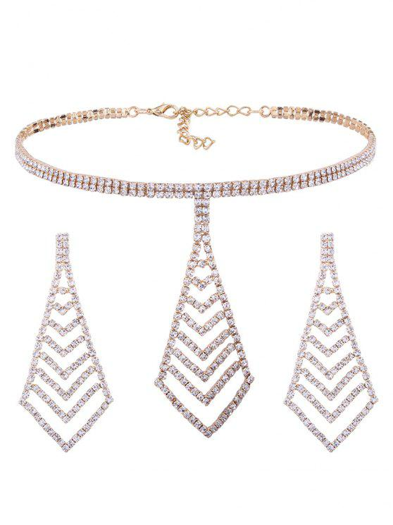 shops Rhinestone Pyramid Pendant Choker Necklace and Earrings - GOLDEN