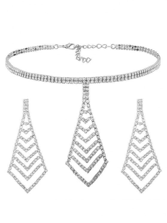 trendy Rhinestone Pyramid Pendant Choker Necklace and Earrings - SILVER