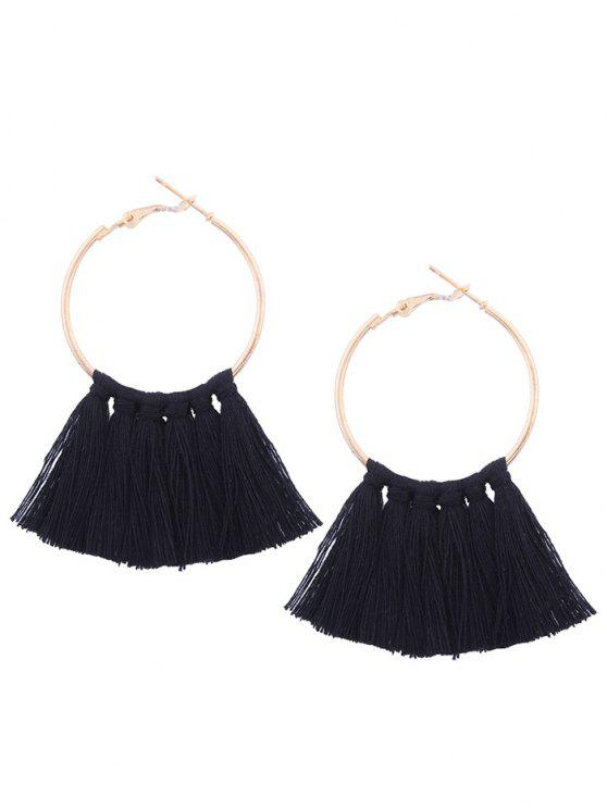 Image result for Circle Tassel Hoop Earrings - Black