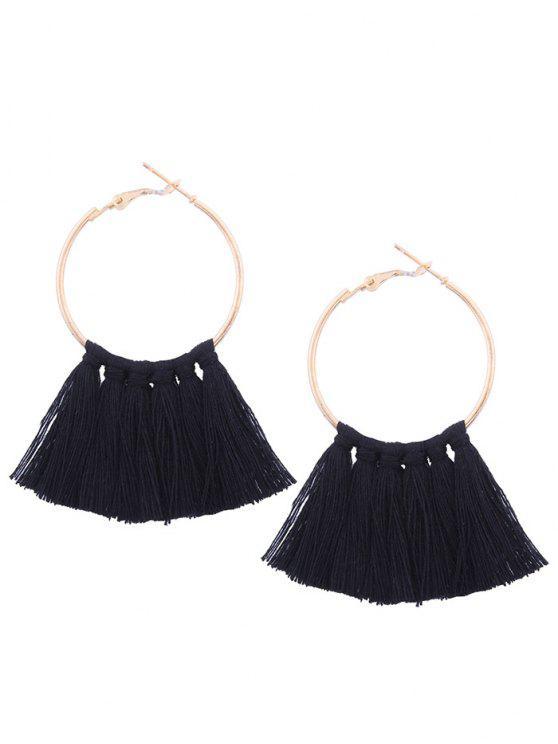 womens Circle Tassel Hoop Earrings - BLACK