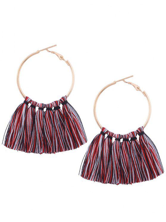 hot Circle Tassel Hoop Earrings - COLORMIX