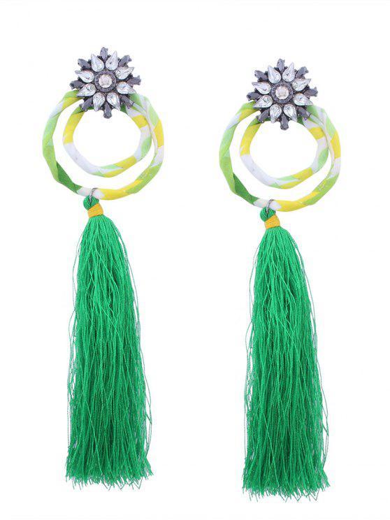 91c07aeac3c402 13% OFF] 2019 Flower Double Hoop Tassel Pendant Earrings In GREEN ...