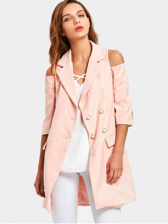 Double-breasted Cold Shoulder Skirted Coat - Pink M