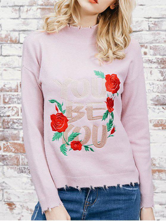 Flower Patched High Neck Sweater LIGHT PINK: Sweaters ONE SIZE | ZAFUL