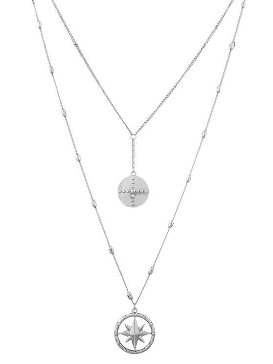 Layered Floating Star Charm Halskette - Silber
