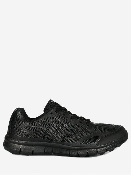 hot Mesh Lace Up Sneakers - BLACK 35
