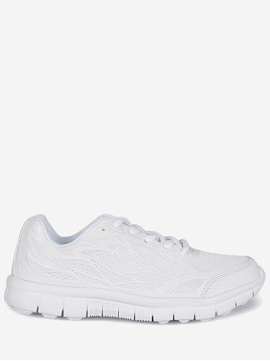 fancy Mesh Lace Up Sneakers - WHITE 38