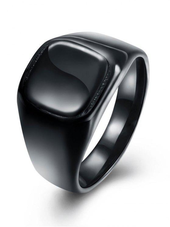 Anel redondo de dedo geométrico - Preto 10
