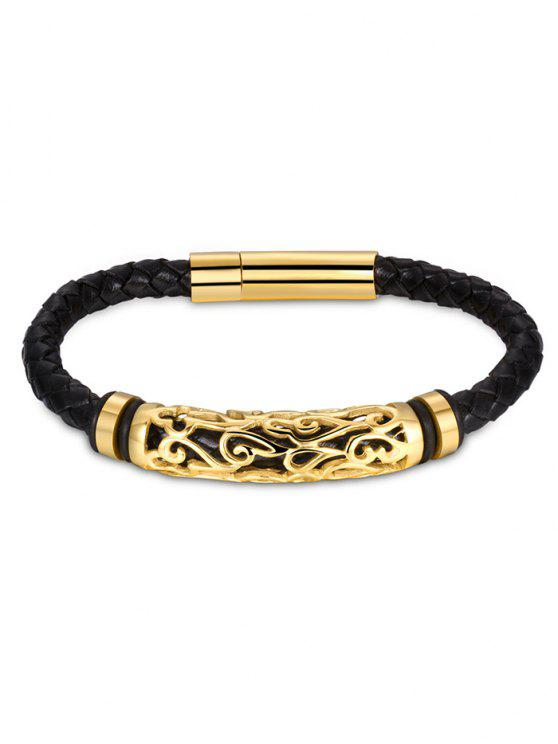best Hollow Out Carve Alloy Weaving Bracelet - GOLDEN