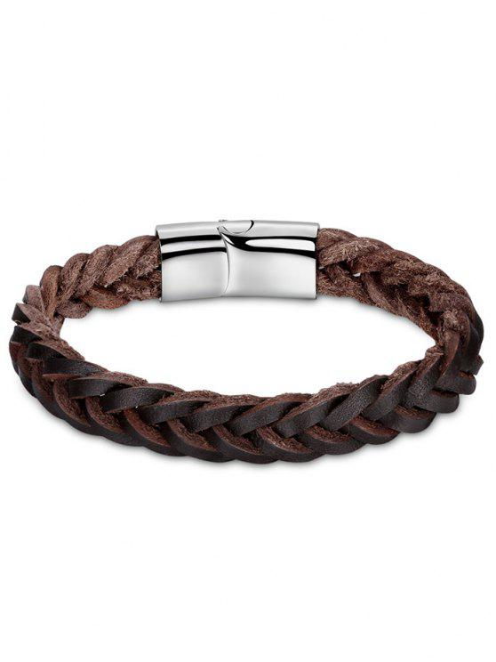 hot Artificial Leather Cool Braid Bracelet - BROWN