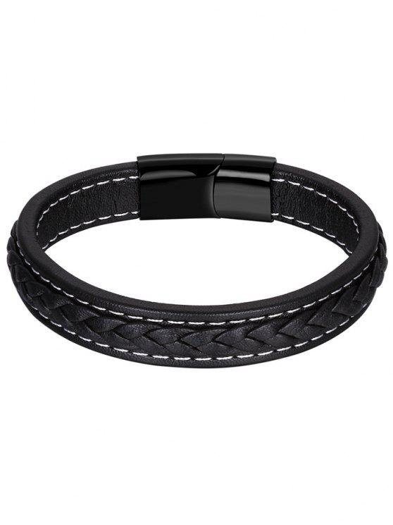 Brazalete de cuero artificial Braid - Negro