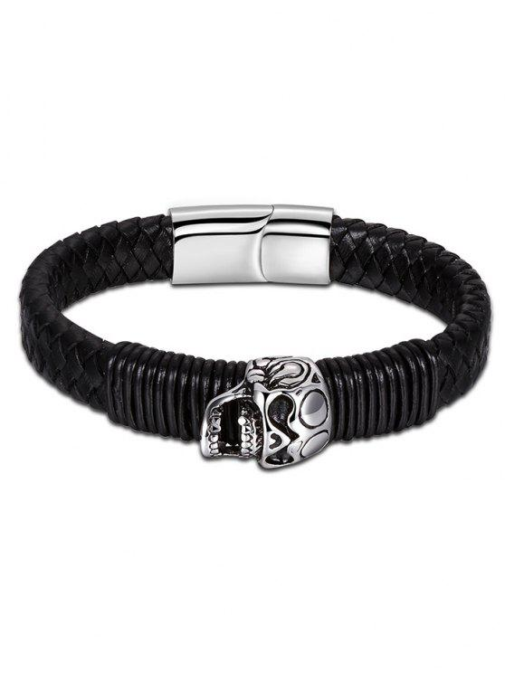 shop Halloween Faux Leather Braid Skull Bracelet - BLACK