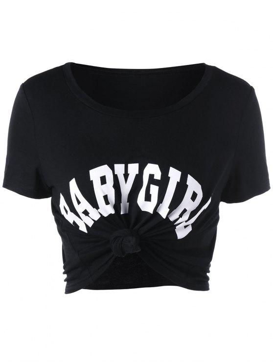 2019 Baby Girl Cropped Tee In Black M Zaful