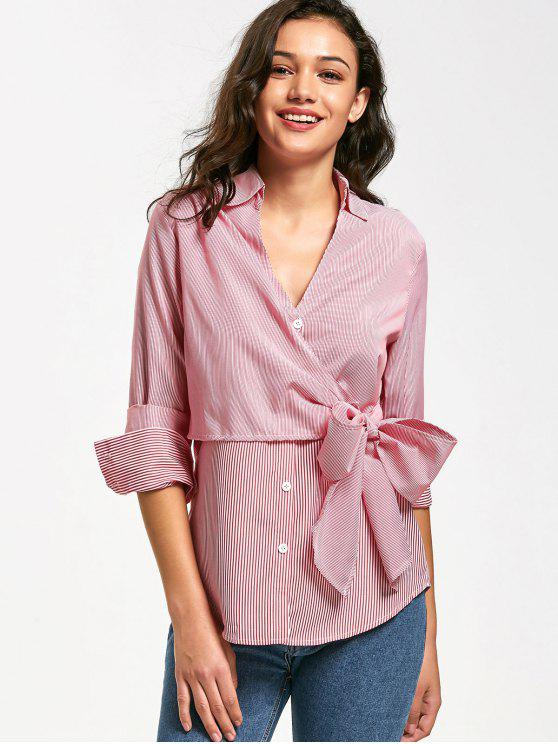 women Button Up Bowknot Stripes Shirt - STRIPE M
