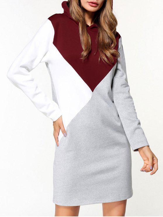 fashion Fleece Color Block Hoodie Dress - GRAY L
