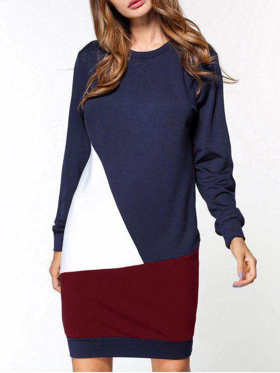 best Fleece Color Block Sweatshirt Dress - PURPLISH BLUE XL