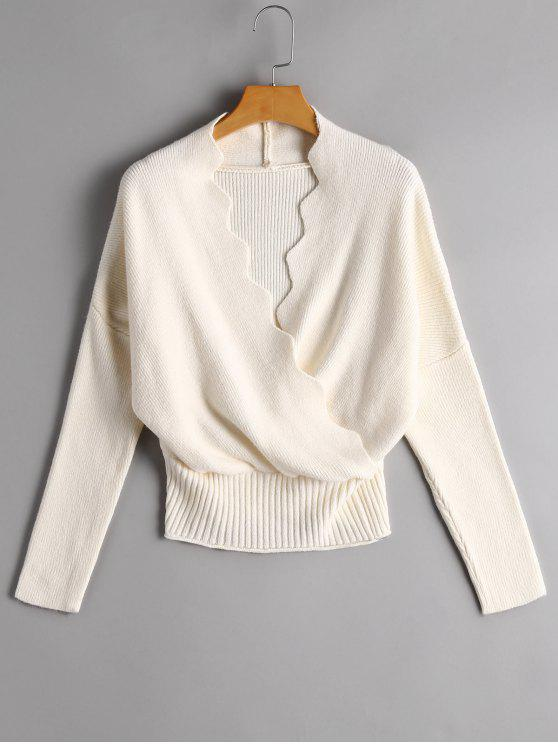 online Plunging Neck Zigzag Hem Knitted Top - OFF-WHITE ONE SIZE