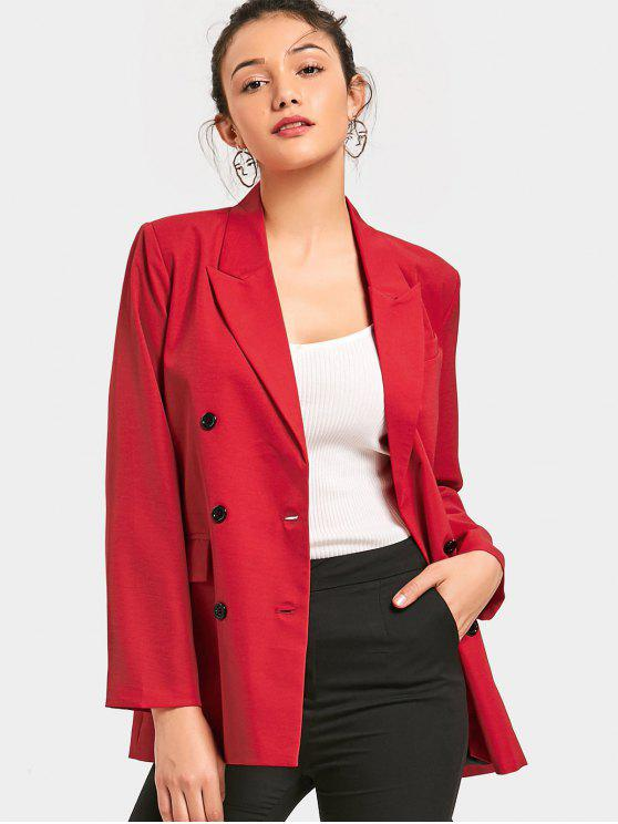 lady Long Sleeve Double-breasted Blazer - RED L