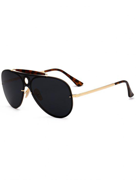 shop Leopard Bar Hollow Round Shield Pilot Sunglasses - BLACK