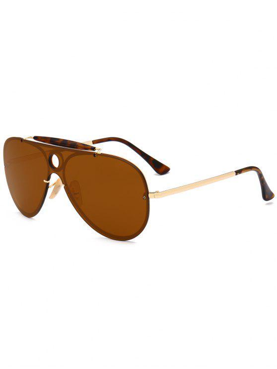 Leopard Bar Hollow Round Shield Pilot Óculos de sol - Cor de chá