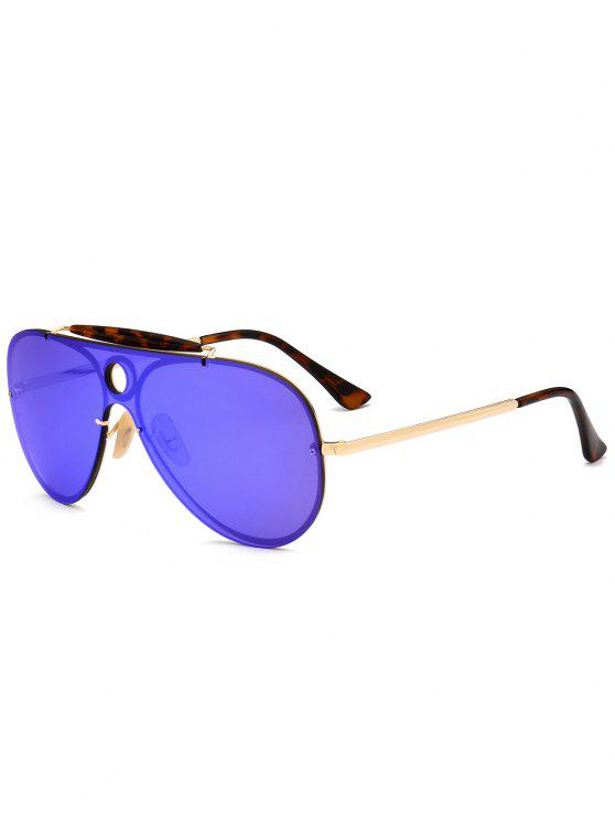 sale Leopard Bar Hollow Round Shield Pilot Sunglasses - BLUE VIOLET
